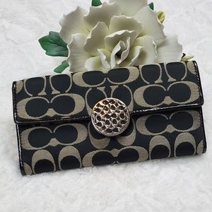 Coach Gray and Black Medallion Wallet